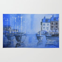 Quiet Harbour - boats safely moored Rug