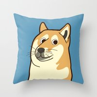doge Throw Pillows featuring Doge by evannave
