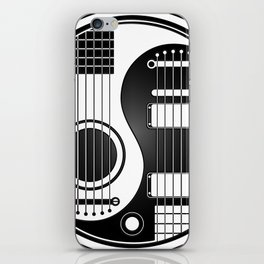 White and Black Acoustic Electric Yin Yang Guitars iPhone Skin