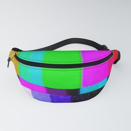 A distorted tv transmission or VHS tape, a badly eaten noisy signal of SMPTE color bars (a television screen test pattern). Vintage photo. Retro background. Fanny Pack