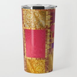 """Exotic fabric, ethnic and bohemian style, patches"" Travel Mug"