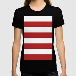 Wide Horizontal Stripes - White and Firebrick Red T-shirt