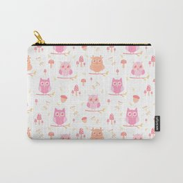 Cute funny pastel pink coral orange owl floral Carry-All Pouch