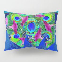 BLUE PEACOCKS & PURPLE MORNING GLORIES Pillow Sham