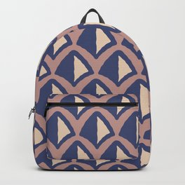 Classic Hollywood Regency Pyramid Pattern 234 Blue Brown and Beige Backpack