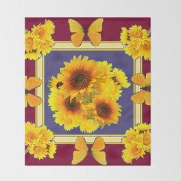 BUTTERFLY SUNFLOWER BOUQUETS BURGUNDY ART Throw Blanket