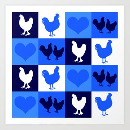 Blue and White American Chickens Gingham Art Print