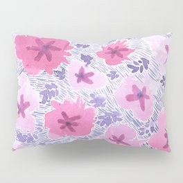 Pink Floral Graphic Watercolor Pattern Pillow Sham