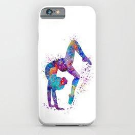 Girl Gymnastics Tumbling Colorful Watercolor Artwork iPhone Case