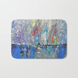 Three Sailboats - abstract acrylic painting sea landscape blue colors Bath Mat