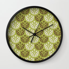 Mid Century Modern Flower Pattern Chartreuse and Brown 112 Wall Clock