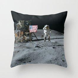 Apollo 16 - Astronaut Moon Jump Throw Pillow