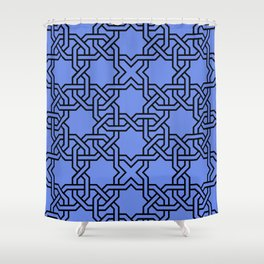 Entwined graphic Lines Home Design - blue Shower Curtain