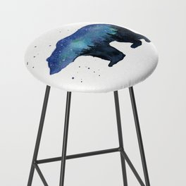 Forest Bear Silhouette Watercolor Galaxy Bar Stool