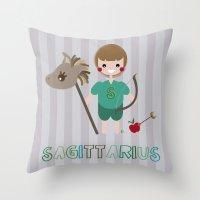sagittarius Throw Pillows featuring Sagittarius by Esther Ilustra