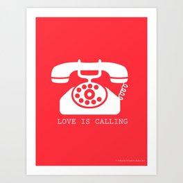 Retro Red Love Is Calling Art Print