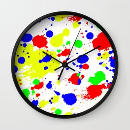 Colorful Paint Splatter. Wall Clock