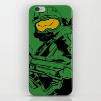 master chief iPhone & iPod Skins featuring Halo Master Chief by Ashley Rhodes