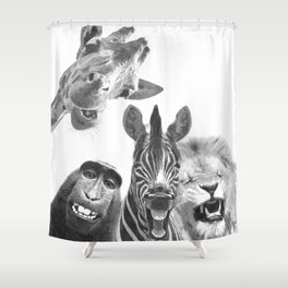 Black and White Jungle Animal Friends Shower Curtain
