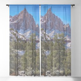 The_Watchman - Winter in Zion_National_Park, UT Sheer Curtain