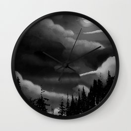 Bright Cloudy Night Sky in Black and White Wall Clock