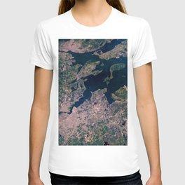 Providence, Newport, Narragansett Bay, Rhode Island Satellite Photograph T-shirt