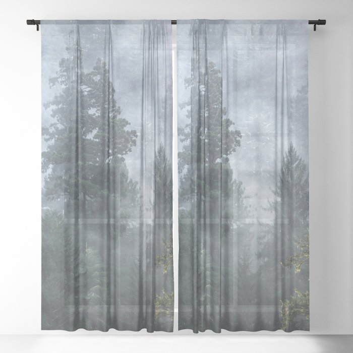 Smoky Redwood Forest Foggy Woods - Nature Photography Sheer Curtain