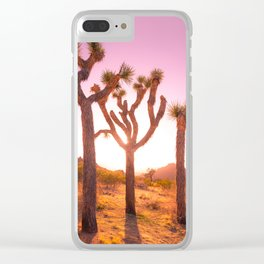 Three Sisters at Sunset- Joshua Tree Edition Clear iPhone Case