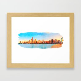 Chicago Skyline At Sunset Viewed From North Avenue Beach Framed Art Print