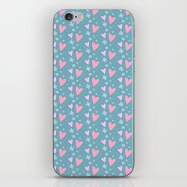 Abstract pink turquoise romantic hearts floral pattern iPhone Skin