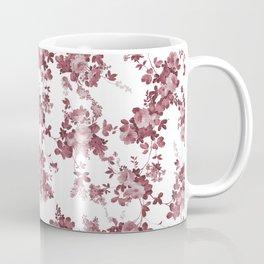 Elegant pastel pink marsala red roses floral pattern Coffee Mug