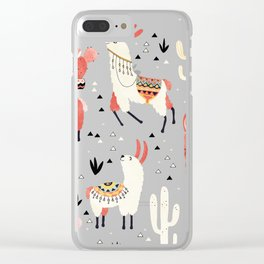 Llamas and cactus in a pot on green Clear iPhone Case