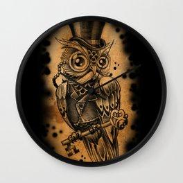 Owl tattoo cute gentleman  Wall Clock