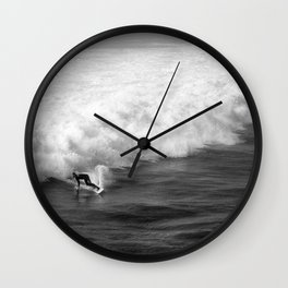 Lone Surfer in Black and White Wall Clock