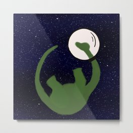 Dave the Dinosaur in Space Metal Print