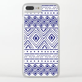 African Mud Cloth // Blue Clear iPhone Case