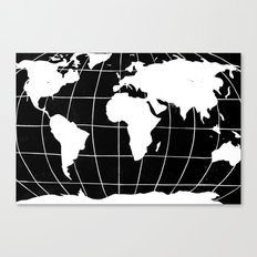 Map of the World in Black Canvas Print