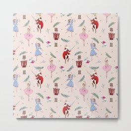 The Nutcracker Christmas On Ballet Shoe Pink Metal Print