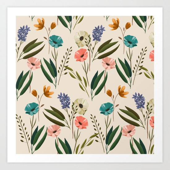 Floral 247 Cream Art Print