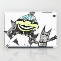 sport iPad Cases featuring Sport frog by KRADA ZHAN ART