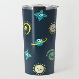 Pastel space pattern - dark Travel Mug