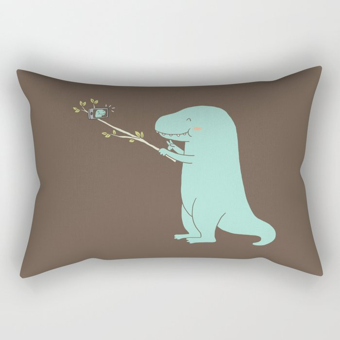 Selfie T-Rex Rectangular Pillow