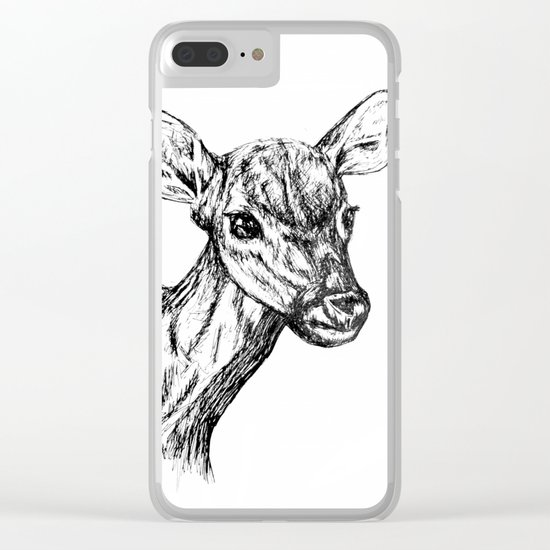Deer - Black & White Clear iPhone Case