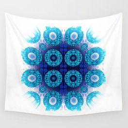 Bright Aqua Indigo Mandala Splash Wall Tapestry