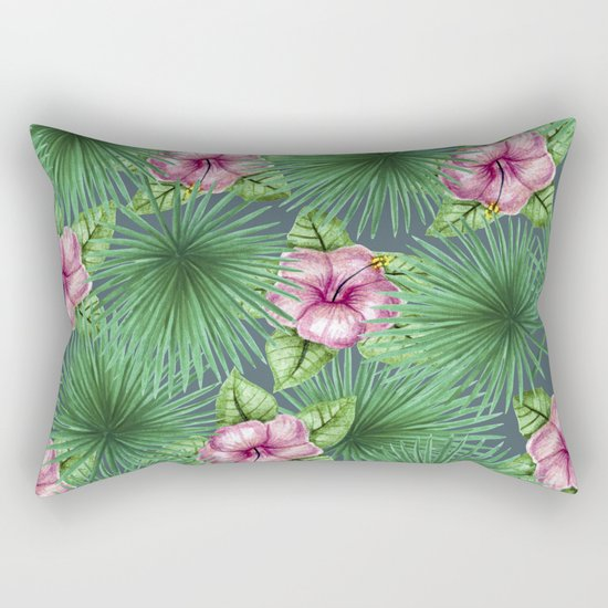 Jungle Love, Palm Leaves And Hibiscus Rectangular Pillow