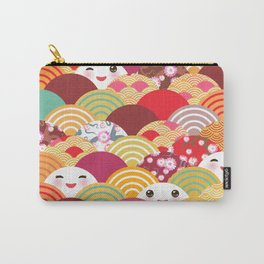 Kawaii Nature background with japanese sakura flower, wave pattern Carry-All Pouch