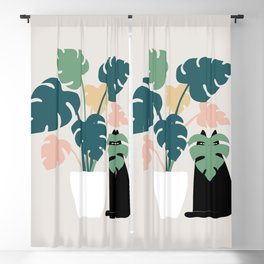 Cat and Plant 21: Leaf Me Alone Blackout Curtain