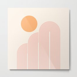 Mid Century Modern Geometric 41 in Coral Shades (Rainbow and Sunrise Abstraction) Metal Print