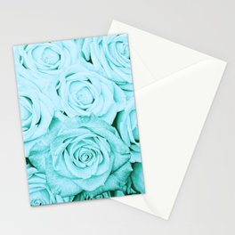 Turquoise roses -flower pattern - Vintage rose Stationery Cards