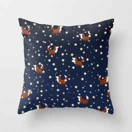Foxes and stars pattern Throw Pillow